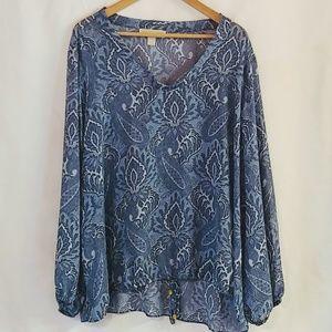 MK Monterey Blue Sheer Blouse